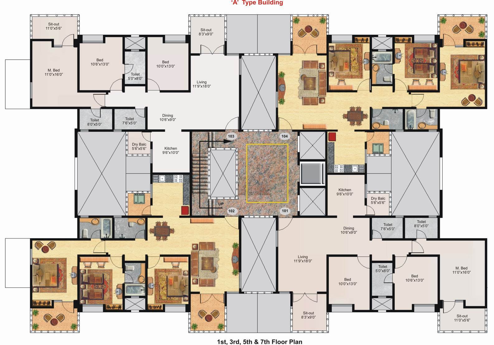 3d floor plan of a celeb mansion modern house for Large house plans